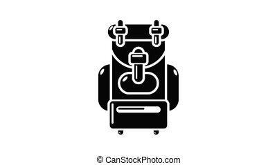 sac à dos, animation, icône