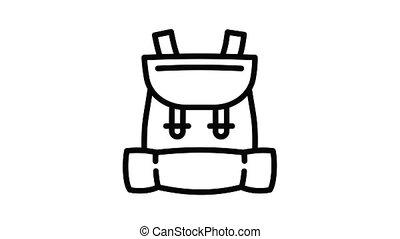 sac à dos, gosse, animation, icône