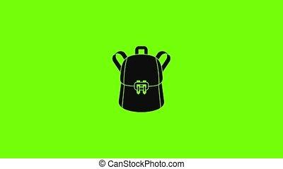 sac à dos, icône, animation, branché