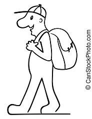 sac à dos, touriste