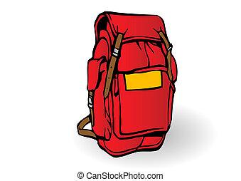 sac à dos, vecteur, touriste, illustration, rouges