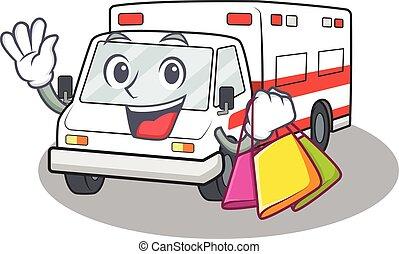 sac à provisions, onduler, tenue, heureux, riche, ambulance