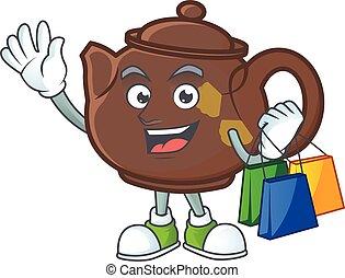 sac à provisions, onduler, tenue, heureux, riche, théière