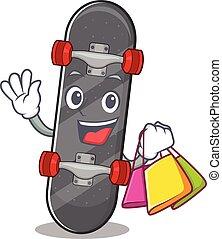 sac à provisions, onduler, tenue, skateboard, heureux, riche