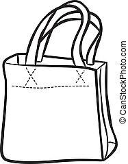 sac, achats, griffonnage