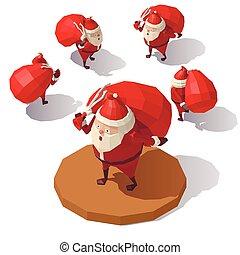 sac, claus, santa, cadeau, rouges