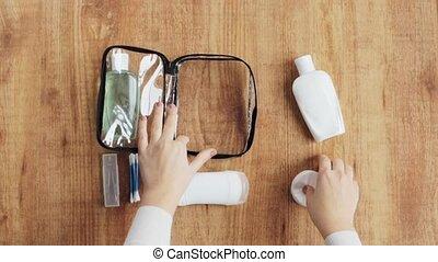 sac, emballage, produits de beauté, mains