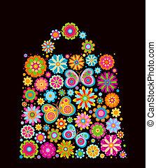 sac, forme, fleurs