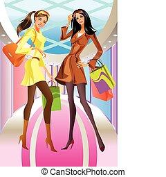 sac, girl, mode, achats, deux