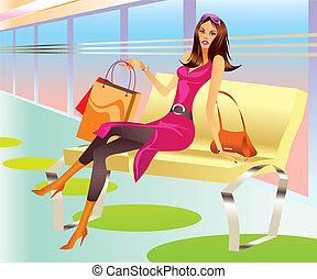 sac, girl, mode, achats