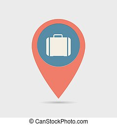 sac main, carte, emplacement, épingle