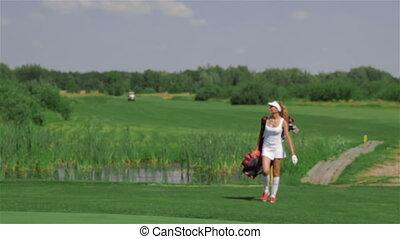 sac, porte, femme, golf