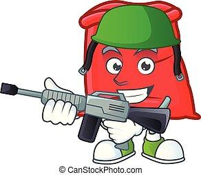 sac, santa, ouvert, armée, rouges, dessin animé