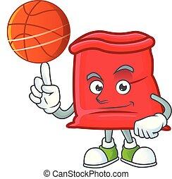 sac, santa, ouvert, basket-ball, tenue, rouges, dessin animé