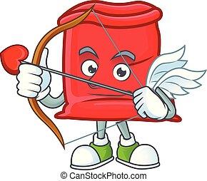 sac, santa, ouvert, cupidon, rouges, dessin animé