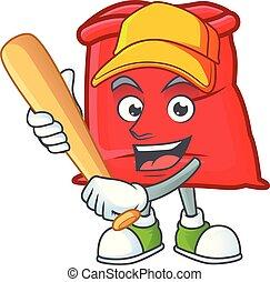 sac, santa, ouvert, jouer, rouges, base-ball, dessin animé