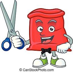 sac, santa, ouvert, rouges, coiffeur, dessin animé