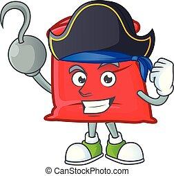 sac, santa, ouvert, rouges, pirate, dessin animé