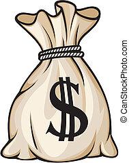 sac, signe dollar, argent