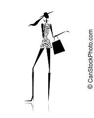 sac, silhouette, mode, achats, girl
