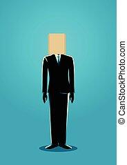 sac, tête, papier, homme affaires