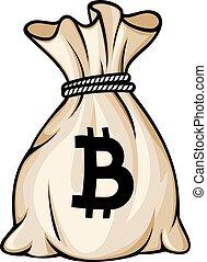 sac, vecteur, bitcoin, illustration, signe