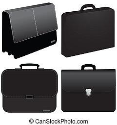 sac, vecteur, -, business, noir