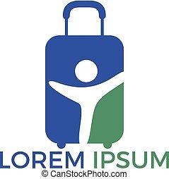 sac, voyage, design., humain, logo