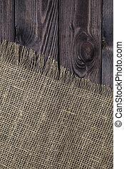 sacking, vieux, texture bois, arrière-plan., burlap, table