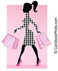 sacolas, elegante, mulher, mode, caminhando, achats, rosa, compras, consumo