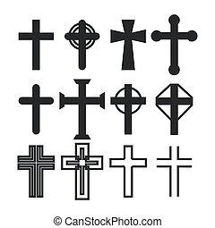 sacré, icône, vecteur, croix catholique, silhouette, chrétien, crucifix, illustration, collection., set.