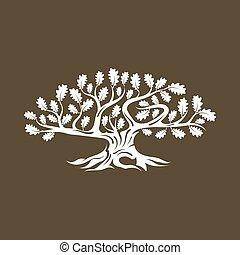 sacré, silhouette, arrière-plan., logo, arbre, chêne, isolé, brun, énorme