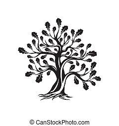 sacré, silhouette, isolé, logo, blanc, énorme, arbre chêne, arrière-plan.