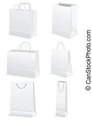 sacs, épicerie commerciale, &, papier, vide