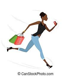 sacs, achats, américain, jeune, courant, africaine