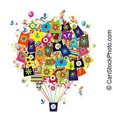 sacs, achats, concept, balloon, air, conception, ton