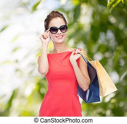 sacs, achats femme, élégant, sourire, robe