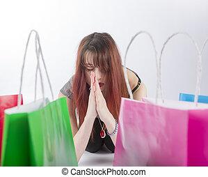 sacs, achats femme, coloré, jeune, prier
