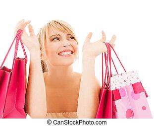 sacs, achats femme, heureux, beaucoup