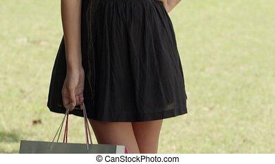 sacs, achats femme, heureux