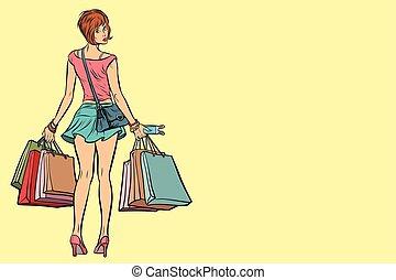 sacs, achats femme, jeune, vente