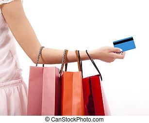 sacs, achats femme, main, crédit, tenue, carte