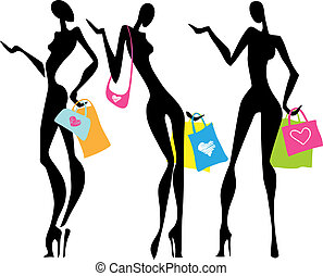 sacs, achats, femmes, illustration