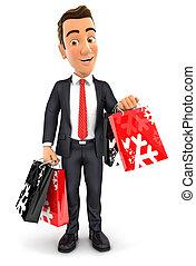 sacs, achats, homme affaires, 3d