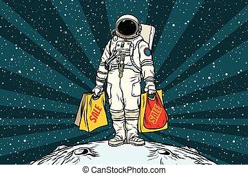 sacs, achats, solitaire, vente, astronaute, retro