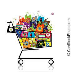 sacs, achats, supermarché, conception, charrette, ton