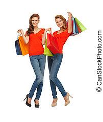 sacs, adolescent, achats, deux filles
