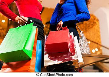 sacs, centre commercial, amis, achats, deux