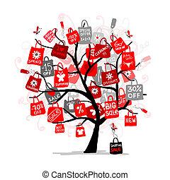 sacs, concept, achats, grand arbre, vente, ton, conception