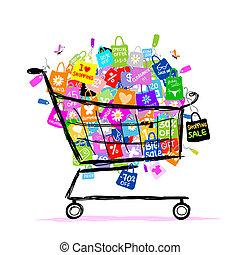 sacs, concept, achats, grand, vente, conception, panier, ton